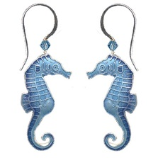 Blue Seahorse Cloisonne Wire Earrings | Bamboo Jewelry | bj0030e
