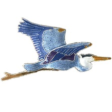 Great Blue Heron Cloisonne Pin | Bamboo Jewelry | bj0053p