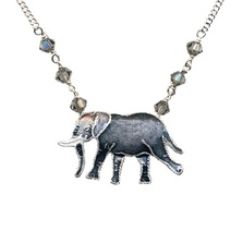 Walking Elephant Cloisonne Necklace | Bamboo Jewelry | bj0057sn