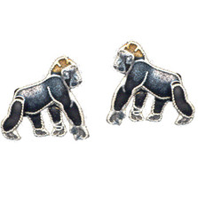 Gorilla Cloisonne Post Earrings | Bamboo Jewelry | bj0059pe