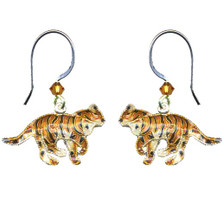 Tiger Cloisonne Wire Earrings | Bamboo Jewelry | bj0062e