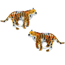 Tiger Cloisonne Post Earrings | Bamboo Jewelry | bj0062pe -2