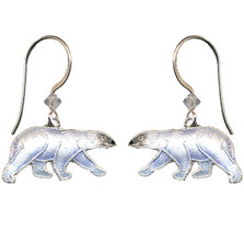 Polar Bear Cloisonne Earrings | Bamboo Jewelry | bj0063e