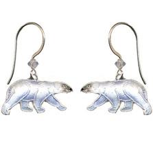 Polar Bear Cloisonne Earrings | Bamboo Jewelry | bj0063e