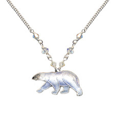 Polar Bear Cloisonne Small Necklace | Bamboo Jewelry | bj0063sn