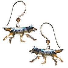 Wolf Cloisonne Wire Earrings | Bamboo Jewelry | bj0070e