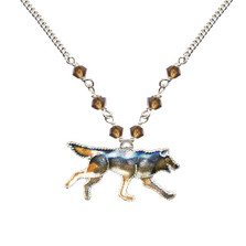 Wolf Cloisonne Necklace | Bamboo Jewelry | bj0070sn