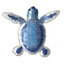 Blue Flatback Hatchling Turtle Cloisonne Pin | Bamboo Jewelry | BJ0074p