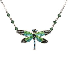 Radiant Gossamer Wing Dragonfly Cloisonne Necklace | Bamboo Jewelry | bj0076sn