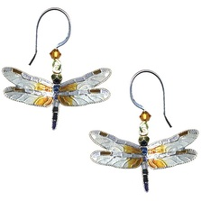 Great Blue Skimmer Dragonfly Cloisonne Wire Earrings | Bamboo Jewelry | bj0078e