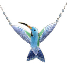Broad Billed Hummingbird Cloisonne Necklace   Bamboo Jewelry   bj0103n
