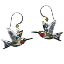 Ruby Throated Hummingbird Cloisonne Wire Earrings | Bamboo Jewelry | BJ0107e