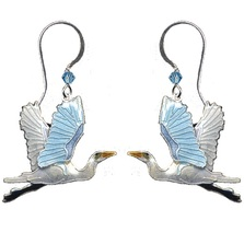 Great Egret Cloisonne Wire Earrings | Bamboo Jewelry | bj0110e