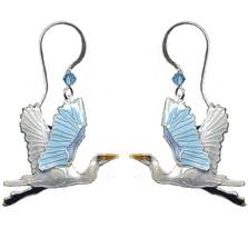 Great Egret Cloisonne Wire Earrings | Bamboo Jewelry | bj0110e