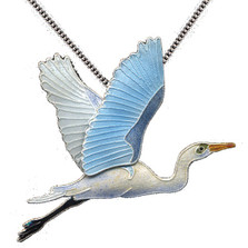 Great Egret Cloisonne Necklace Bamboo | Bamboo Jewelry | bj0110n