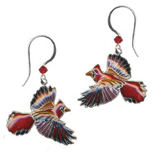 Cardinal Cloisonne Wire Earrings | Bamboo Jewelry | bj0113e