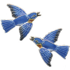 Bluebird Cloisonne Post Earrings | Bamboo Jewelry | bj0119pe