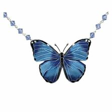 Blue Morpho Butterfly Cloisonne Necklace | Bamboo Jewelry | BJ0168cyn -2