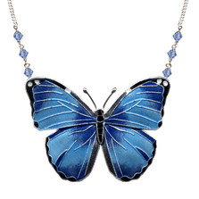 Blue Morpho Butterfly Cloisonne Small Necklace | Bamboo Jewelry | bj0168sn