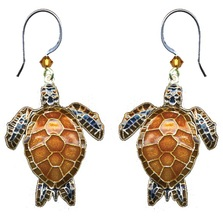 Green Sea Turtle Wire Earrings | Bamboo Jewelry | BJ0178e