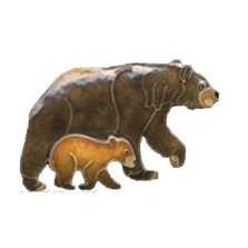 Bear and Cub Cloisonne Pin | Bamboo Jewelry | bj0180p