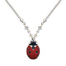 Ladybug Cloisonne Small Necklace | Bamboo Jewelry | bj0188sn