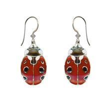 Ladybug Cloisonne Wire Earrings | Bamboo Jewelry | bj0188spE