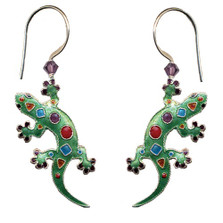 Art Gecko Cloisonne Wire Earrings | Bamboo Jewelry | bj0209e