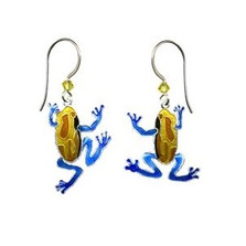 Tree Frog Swinging Wire Earrings | Bamboo Jewelry | bj0227e