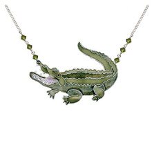 Alligator Large Cloisonne Pendant Necklace | Bamboo Jewelry | BJ0239LN