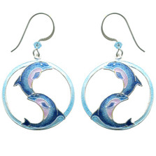 Ying Yang Dolphin Wire Earrings | Bamboo Jewelry | BJ0249E