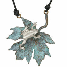 Frog & Maple Leaf  Pendant Necklace | Cavin Richie Jewelry | DMOKB328PEND