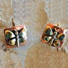 Butterfly Bimetal Victorian Earrings | Elaine Coyne Jewelry | ECGBUX256e