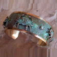 Crab Verdigris Brass Cuff Bracelet | Elaine Coyne Jewelry | ECGCP97BC