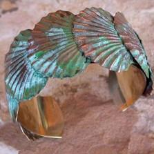 Scallop Shells Cuff Bracelet Brass | Elaine Coyne Jewelry | ECGECP11bc