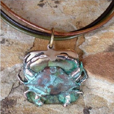 Crab Verdigris Brass Necklace | Elaine Coyne Jewelry | ECGECP8pd