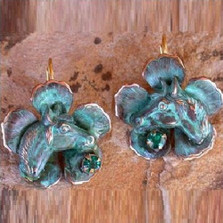 Horse Head on Flower Verdigris Brass Earrings | Elaine Coyne Jewelry | ECGEQP4988eCR