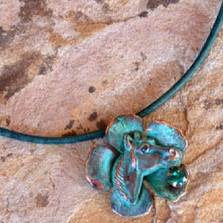 Horse Head on Flower Verdigris Brass Necklace | Elaine Coyne Jewelry | ECGEQP4988pdCR