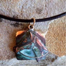 Horse Head Verdigris Brass Necklace | Elaine Coyne Jewelry | ECGEQP79pd