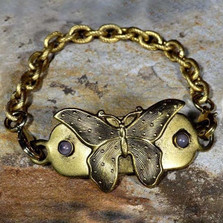 Butterfly Antique Gold Bracelet-Rockband Plaque | Elaine Coyne Jewelry | ecgNASG29rb-5
