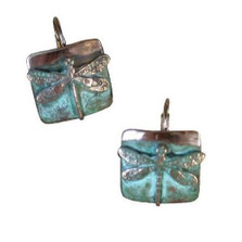 Dragonfly Verdigris Brass Earrings | Elaine Coyne Jewelry | ECGNAP75E