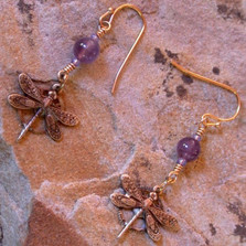 Dragonfly Dangle Dogtooth Amethyst Earrings | Elaine Coyne Jewelry | ECGNVB781e
