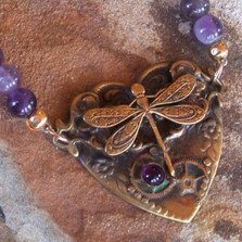 Dragonfly Brass Dogtooth Amethyst Heart Necklace | Elaine Coyne Jewelry | ECGNVB788n