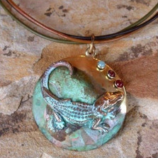 Alligator Verdigris Brass Necklace | Elaine Coyne Jewelry | ECGOCP870pd