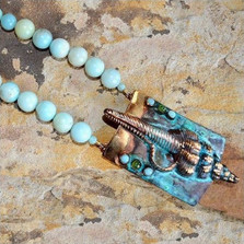 Conch Shell Verdigris Brass Necklace | Elaine Coyne Jewelry | ECGOCP989n