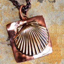 Scallop Shell Copper and Mirror Brass Necklace   Elaine Coyne Jewelry   ECGOCX48pd