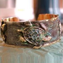 Sea Turtle Verdigris Brass Cuff Bracelet | Elaine Coyne Jewelry | ECGP930BC