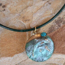 Dolphin Verdigris Brass Necklace | Elaine Coyne Jewelry | ECGPL1741pd