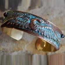 Swan Verdigris Cuff Bracelet | Elaine Coyne Jewelry | ECGSWO196bc