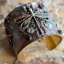 Dragonfly Amethyst & Jade Cuff Bracelet | Elaine Coyne Jewelry | ECGVDP790cf